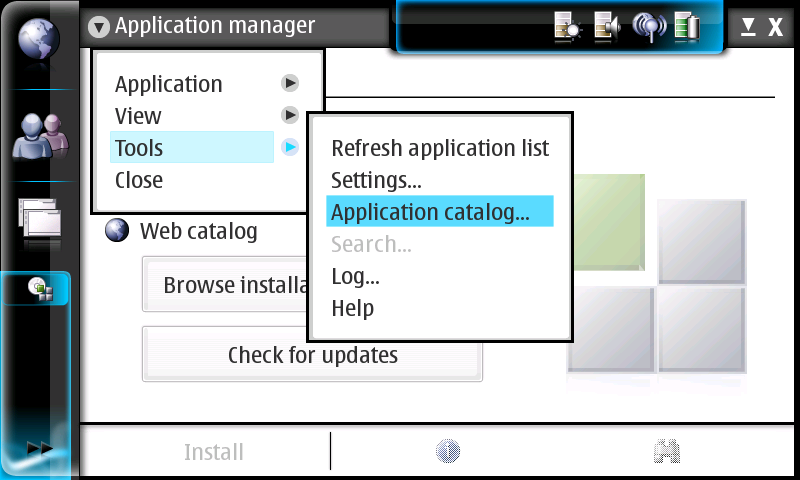 Selecting applications catalog in applications manager